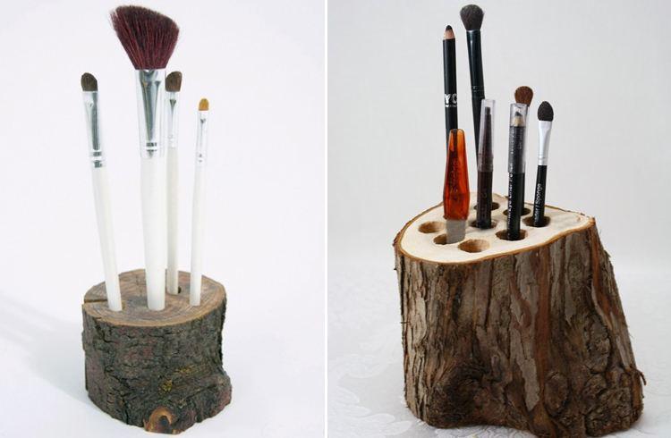 Wood Log Makeup Brush Holder
