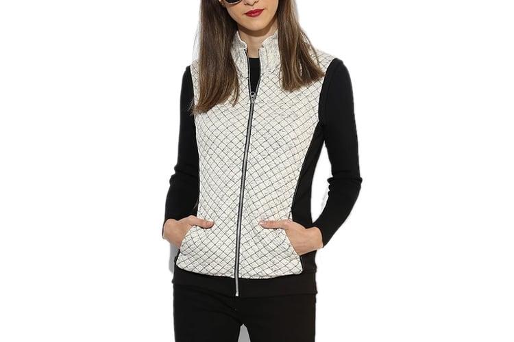 Cream Self Pattern Winter Jacket