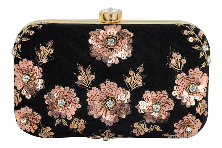 Embroidered Box Clutch Bag Purse For Bridal