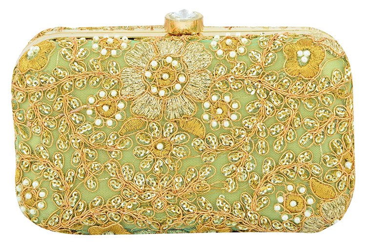 Hand Embroidered Box Clutch Bag Purse For Bridal, Casual, Party