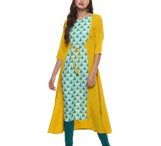 Janasya Women's Yellow Printed Crepe A-Line Kurti
