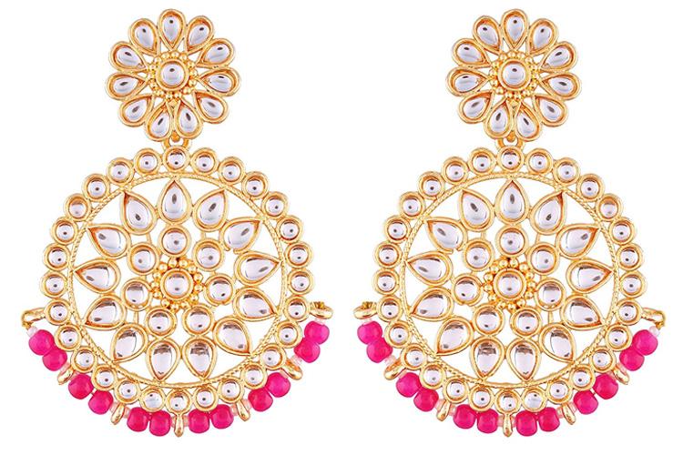 Jewels Gold Plated Kundan Chandbali Earrings for Women