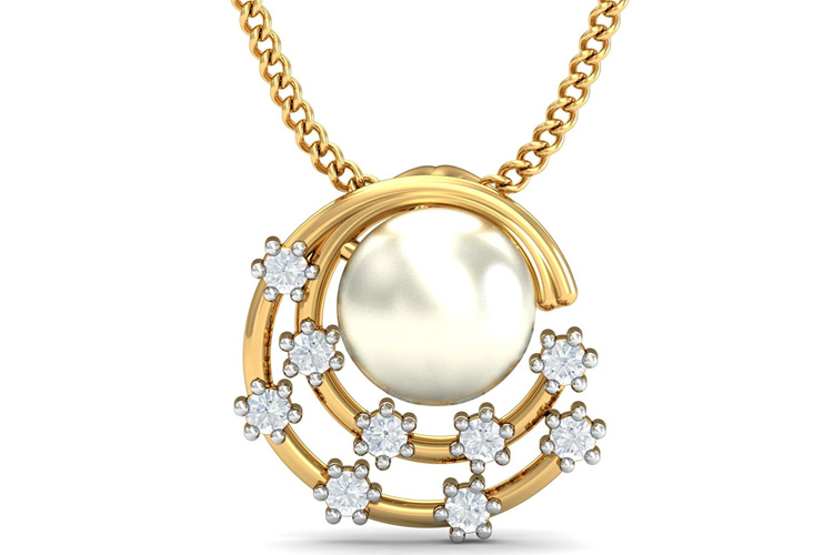 KuberBox Allunare Pearl Yellow Gold and Diamond Pendant