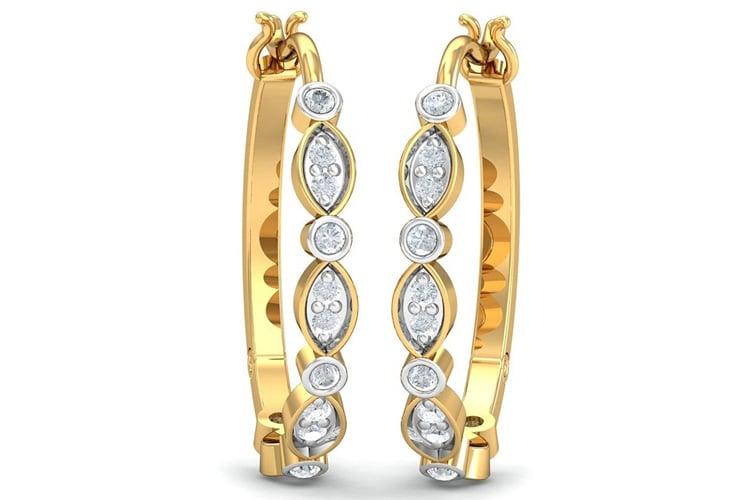 KuberBox Yellow Gold and Diamond Hoop Earrings for Women