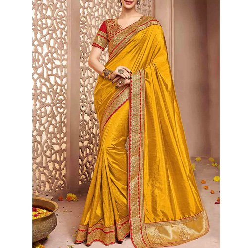 Mustard Tussar Silk Bordered Saree