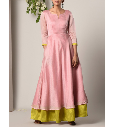 Pink Cotton Blend Maxi Dress