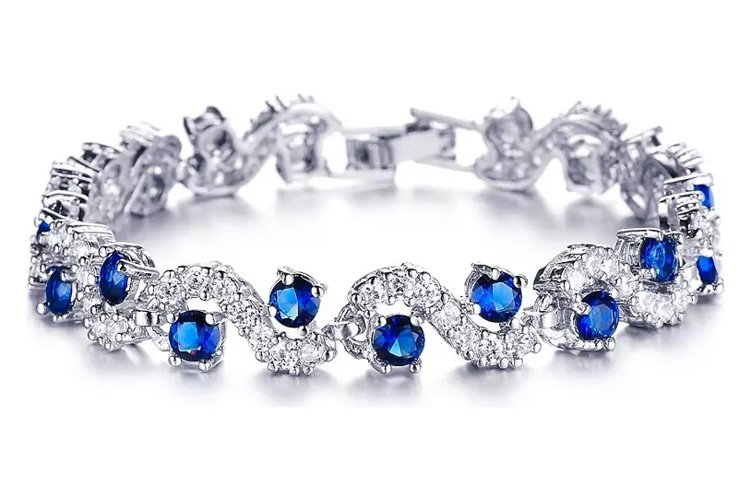 Rhodium Plated Rich Royal Blue Crystals Bracelet For Women