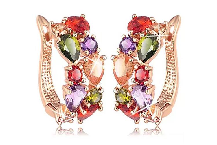 Rose Gold Plated Hoop Earrings For Women