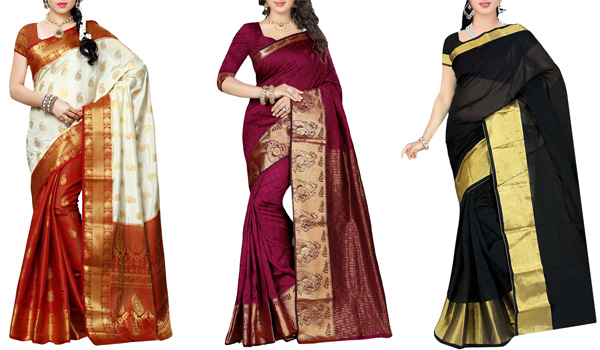Saris With Golden Borders