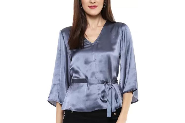 Sassafras Party Kimono Sleeve Solid Women's Grey Top