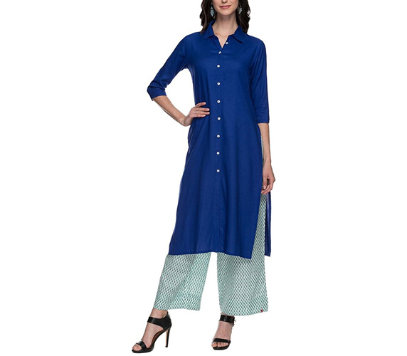 Shoppers Stop Womens Collared Solid Kurta