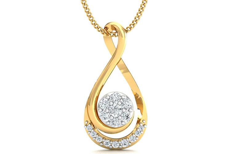 Stylori Mokya Engulfed 18k Gold and Diamond Pendant