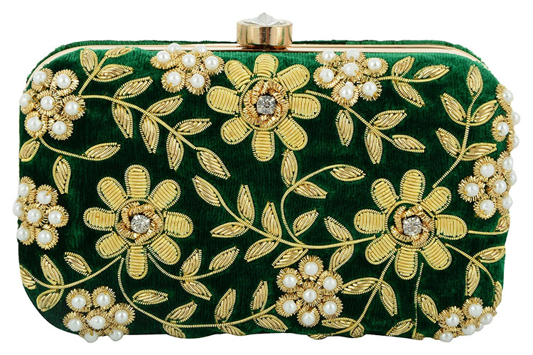 Tooba Handicraft Party Wear Hand Embroidered Box Clutch Bag Purse For Bridal