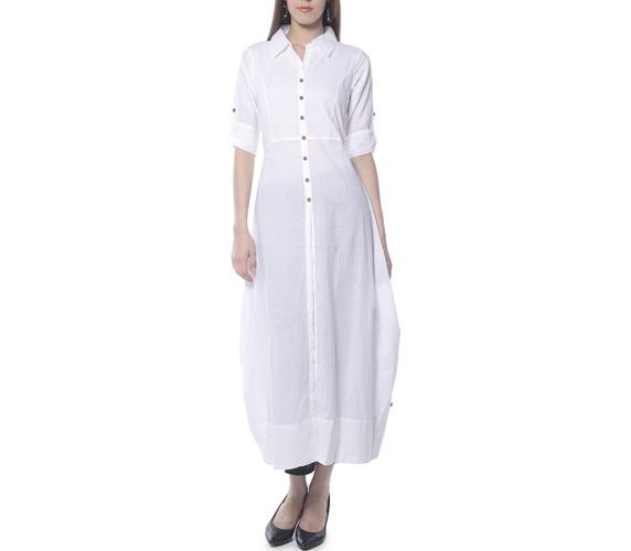 Vedic Women's Solid White Long Collared Kurti