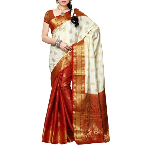 White And Red Kanjivaram Silk Saree