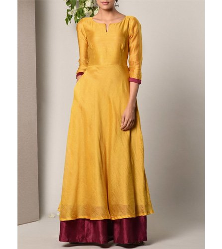 Yellow Cotton Blend Gown