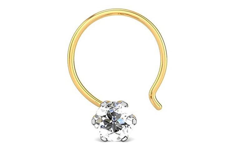 Yellow Gold and Diamond Sowmya Nose Pin