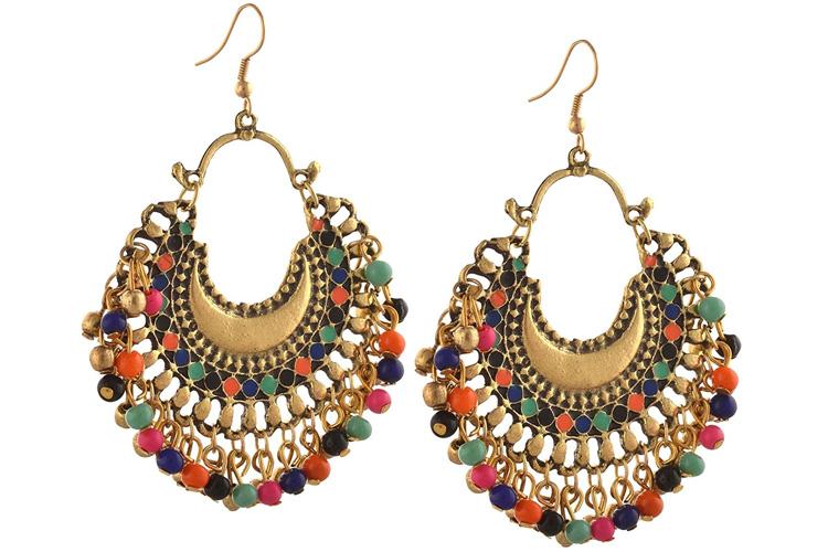 Zephyrr Fashion German Silver Beaded Chandbali Hook Earrings for Women