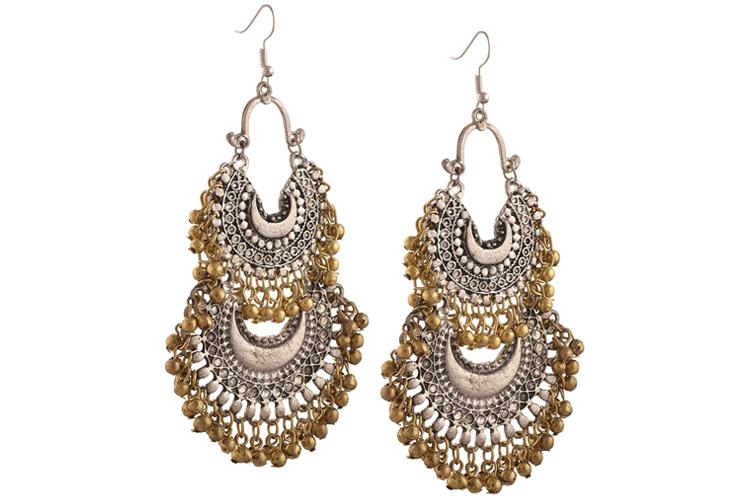 Zephyrr Fashion German Silver Turkish Style Beaded Chandbali Earrings for Women For Womens