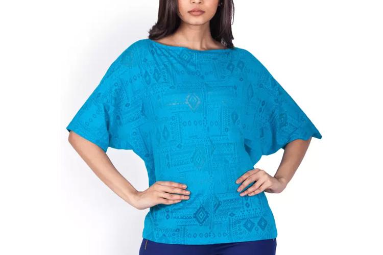 Zink London Casual Kimono Sleeve Self Design Women's Blue Top