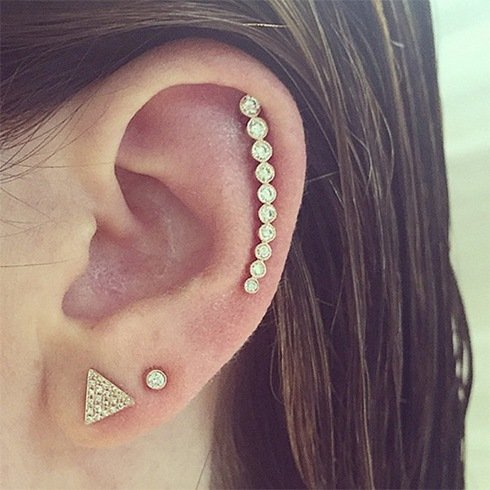Multiple Diamond Ear Piercings