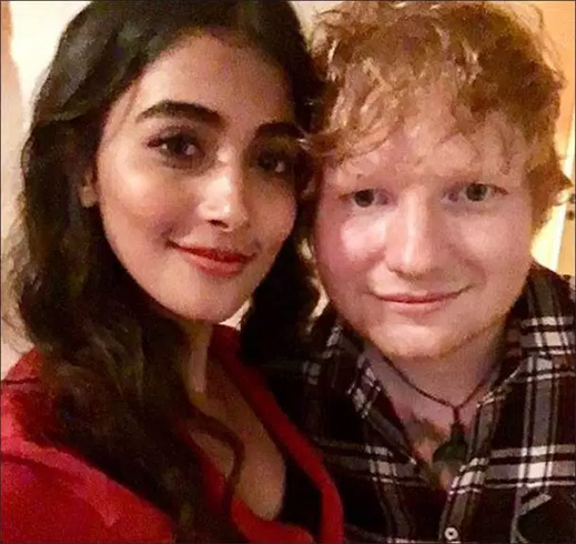 Pooja Hedge with Ed Sheeran