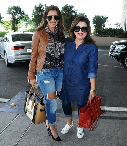 Sania Mirza and Farah Khan At Airport