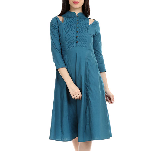 Blue Cotton Casual Dress
