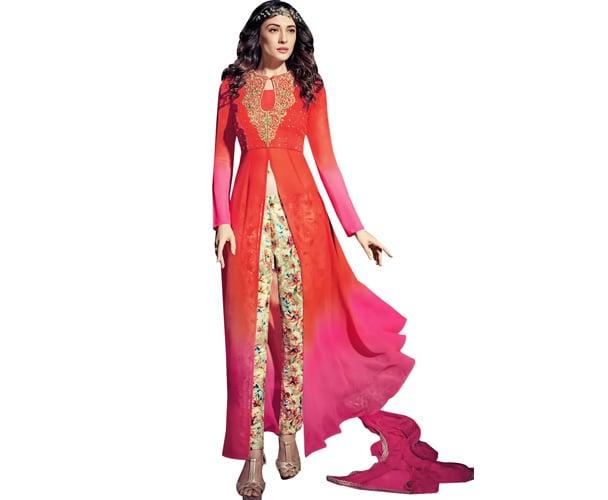 Designer Orange And Pink Georgette Long Semi Stitch Anarkali Partywear Dress Material