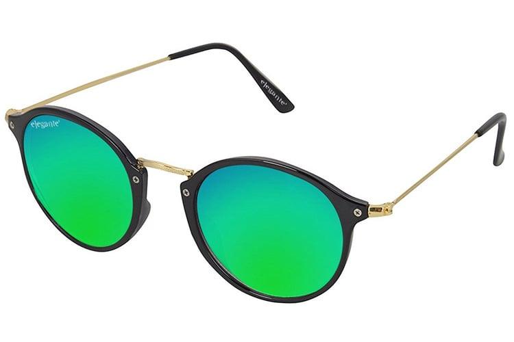 Elegante Golden Frame Bluish Green Mirrored Unisex Oval Sunglasses