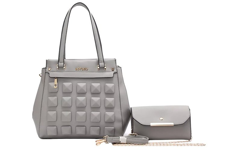 Grey Leatherette Fashion Satchel