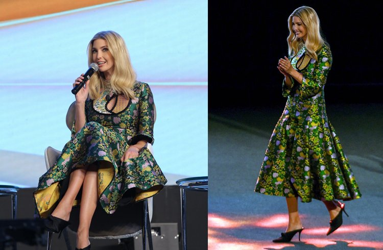 Ivanka Trump dressed up in tea length dress from Erdem