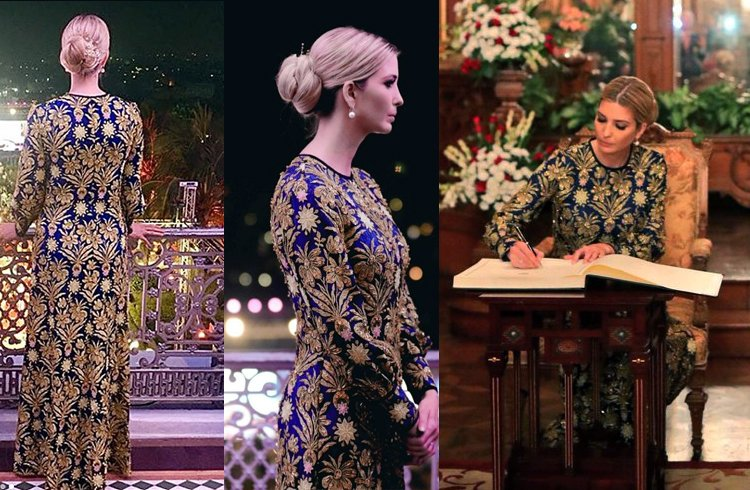 Ivanka Trump was sighted in an elaborate gown from Tory Burch