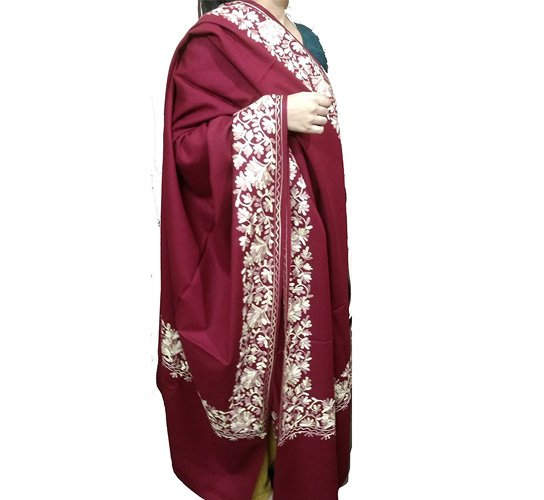 Kashmiri Floral Border Embroidered Maroon Colour Fine Wool Shawls