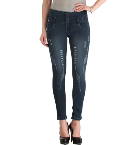 Lequary Women's Skinny Fit High Waist Ankle Length Patchwork Denim Jeans - Grey
