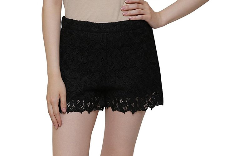 MansiCollections Black Crochet Lace Shorts For Women