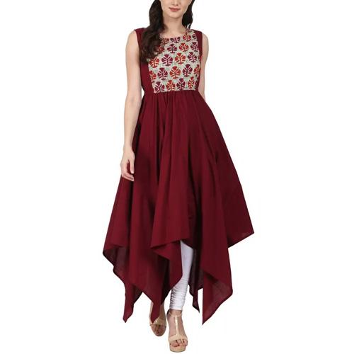 Maroon Sleevless Cotton Assymetric Anarkali Kurta With Printed Yoke