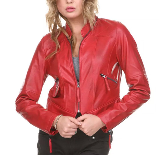 New Ladies Leather Jacket Caot.Leather Jacket In Sexy Biker Rocker Fashion