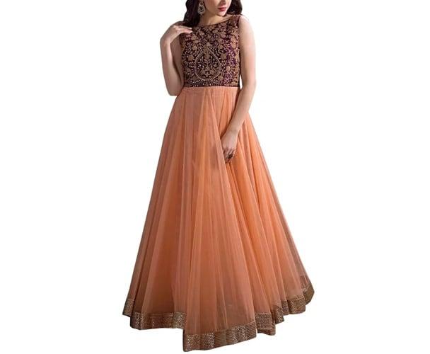 Rapiddukan Semi-Stitched Orange Color Anarkali Salwar Suit Dupatta Material