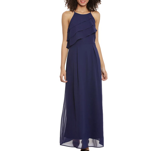 Solid Polyester A-Line Dress