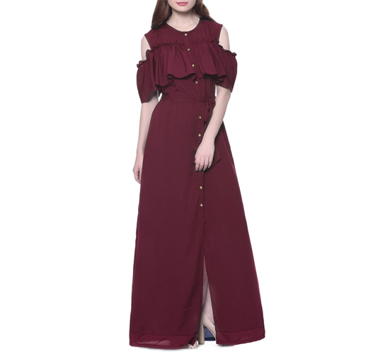 Solid Wine Crepe Maxi Dress