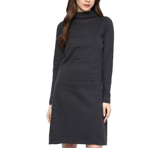 Veronique Grey Solid Sweater Dress