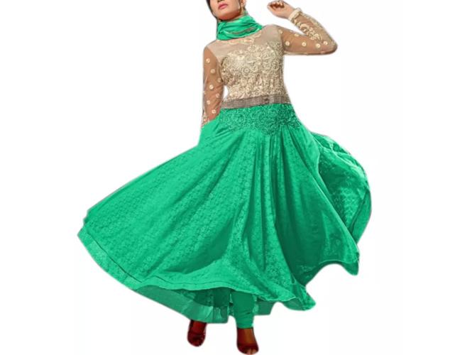 Vibes Pure Net Anarkali Designer Dress Material