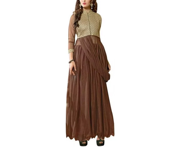 Vibes Women's Georgette Anarkali Style Unstiched Dress Material
