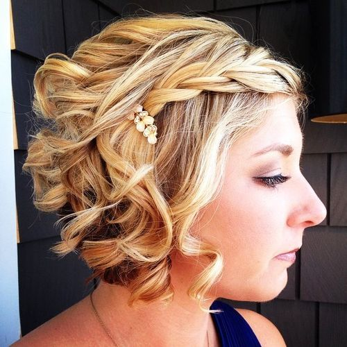 Curly Bob With Side Braid