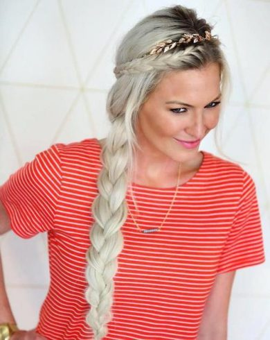 Long Blonde Side Braid