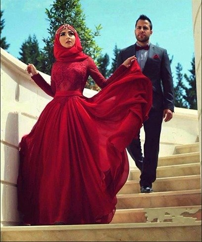 Muslim Red Wedding Dress