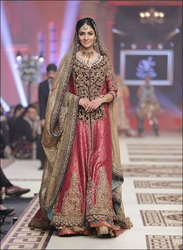 Onion Pink Zardozi Bridal Dress With Dupatta