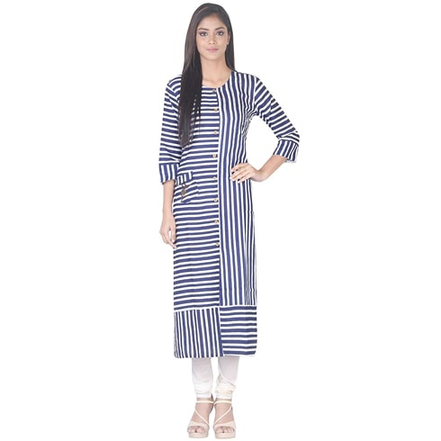 Simaaya Blue and White Striped Kurti