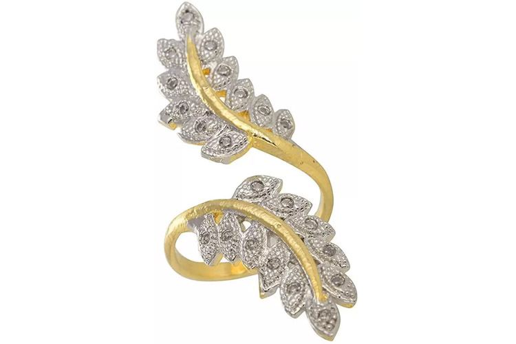 American Diamond Double Leaf Cocktail Alloy Cubic Zirconia 22K Yellow Gold Plated Ring